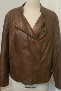 Black Rivet Brown Leather Coat
